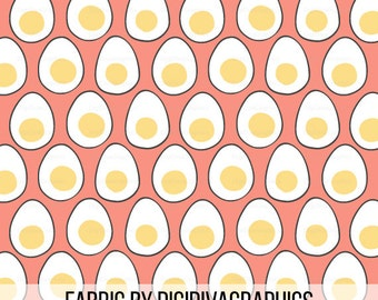 Egg Coral Fabric By The Yard - Simple Hard Boiled Egg Modern Eggcellent Print in Yard & Fat Quarter