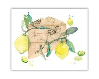 Lemon print, Kitchen decor, Fruit art, Watercolor lemon painting, Lemon art, 8X10 print, Yellow home decor, Citrus print, Botanical poster
