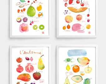 Set of 4 prints, Seasonal fruit print, Watercolor painting, Fruit illustration, Healthy eating poster, Kitchen art, Seasonality Food artwork
