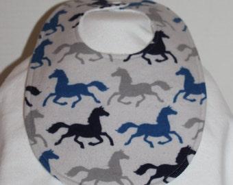 Running Horses Flannel / Terry Cloth Bib