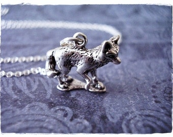 Sterling Fox Necklace - Sterling Fox Charm on a Delicate Sterling Silver Cable Chain or Charm Only