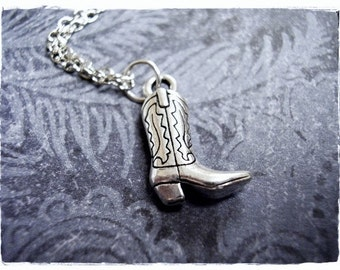 Silver Cowboy Boot Necklace - Silver Pewter Cowboy Boot Charm on a Delicate Silver Plated Cable Chain or Charm Only