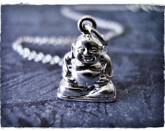 Silver Laughing Buddha Necklace - Sterling Silver Laughing Buddha Charm on a Delicate Sterling Silver Cable Chain or Charm Only