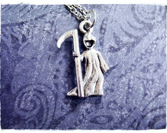 Silver Grim Reaper Necklace - Antique Pewter Grim Reaper Charm on a Delicate Silver Plated Cable Chain or Charm Only