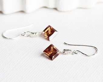 Tiny Chocolate Brown Cubic Zirconia Earrings with Sterling Silver Hooks, Dainty CZ Earrings