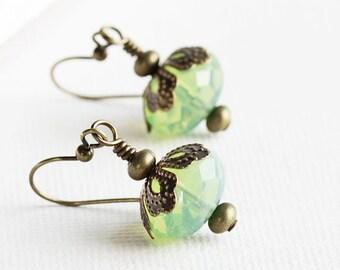Light Green Earrings, Green Dangle Earrings, Antiqued Brass Hooks, Milky Lime Green Bead Earrings, Faceted Glass Earrings, Fashion Jewelry