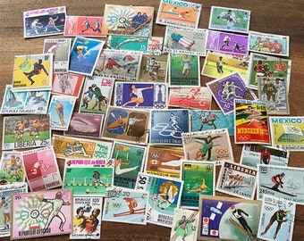 50 Sports and Olympics Used World Postage Stamps crafting collage cards altered art scrapbooks decoupage collecting philately A4