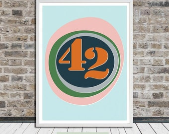 Fourty-two, 42 (ellipse), Hitchhiker's Guide to Galaxy, Douglas Adams, Poster, Midcentury, Printable Art, Instant Digital Download