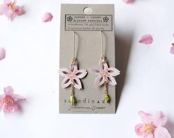 Sakura Cherry Blossom Flower Earrings Creative Leather Delicate Feminine Peridot 14K Gold Fill Bridesmaid Spring Wedding Easter Mothers Day