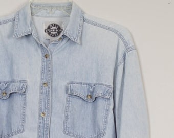 light wash distressed 90s vintage denim shirt button collar long sleeve chambray oxford cotton shirt small 42 chest