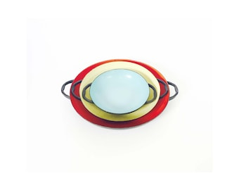 Vintage Colorful Nesting Paella Pans / Krenit