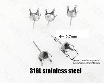 Wholesale 100 316L Stainless Steel Post Earring W/ 3mm/ 4mm/ 5mm/ 6mm/ 7mm/ 8mm/ 10mm Round Cup Four Prongs Setting Ear Studs Gems Setting
