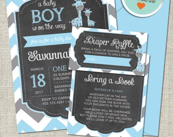 Giraffe Baby Shower Invitation, Giraffe Invitation, Giraffe, Blue, Gray, All Chevron | Printed