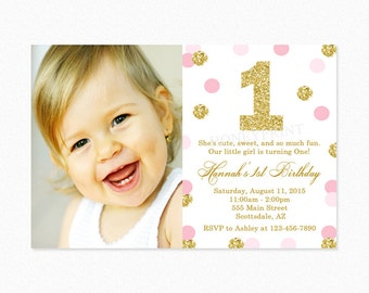 Pink and Gold Polka Dot Birthday Party Invitation, Pink and Gold Birthday Invitation, Gold Glitter, Printable or Printed