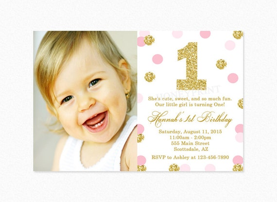 Pink and Gold Birthday Party Invitation Pink and Gold – Pink 1st Birthday Invitations