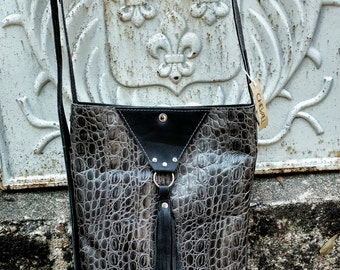 Black and Embossed Gray One of a Kind Bag with Tassel