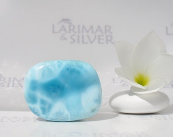 Meditation stone by Larimarandsilver, Calming Waters - aqua Larimar stone, water blue, Reiki, pebble, fifth chakra, handcut Larimar stone