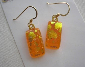 Dichroic Glass Earrings Beautiful Bold Orange with Golden Clouds Gold Ear Hooks Kiln Fused Dichro Jewelry Dangle Iridescent Sparkle Earrings