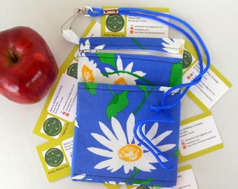 Daisy print phone pouch reuse vegan blue cotton zippered room for larger phones with an outer pocket includes lanyard