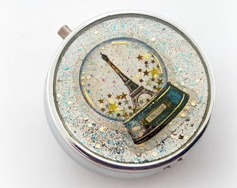 Paris memory glitter pill box, romantic vintage decoden accessories, gift for her