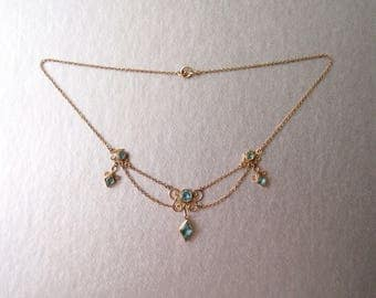 antique Edwardian Festoon Necklace Aquamarine Blue Paste Stones Gilt brass Gold Filled draped choker collarette
