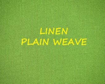 1 YARD, Linen Plain Weave, Fashion or Craft or Home Decor Fabric, Yellow Green Pear, Medium Weight Cotton, B12