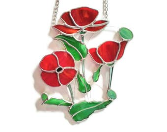 Poppies Suncatcher. Red poppy stained glass window decoration. Flower decoration for the home. Remembrance day, Flanders Field