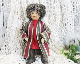 Vintage Russian Doll, Made in Soviet Union 1920-1930, Cloth Doll, Wood Boots