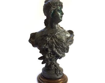 Antique Small Art Nouveau Spelter Bust of Woman on Brass Base