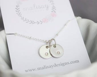 sterling silver stamped initials necklace | 2 initials | mom of two | two kids necklace | push present | twins necklace | gift for her