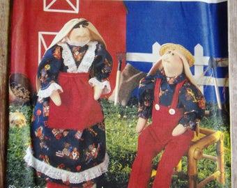 Vintage 1990s Rabbit Dolls and Clothes Simplicity Crafts Pattern 8830 UNCUT