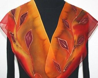 Orange, Red, Terracotta Hand Painted Silk Scarf INDIAN SUNSET, in 3 SIZES. Birthday Gift, Anniversary Gift, Bridesmaid Gift.