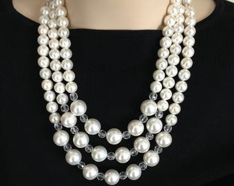 Ashira 3 Strand White Mother of Pearl Nacre Pearls Statement Necklace with Stunning Panther Clasp - Very DeMario in Style