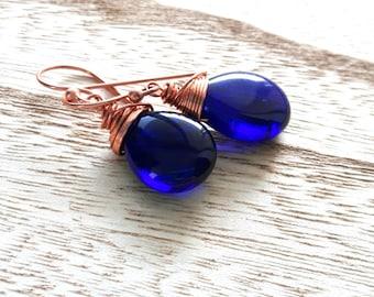 Handmade Earrings - Czech Glass Earrings - Cobalt Briolette - Copper Earrings - Wire wrapped - Royal Blue - Drop Earrings - Dangle Earrings