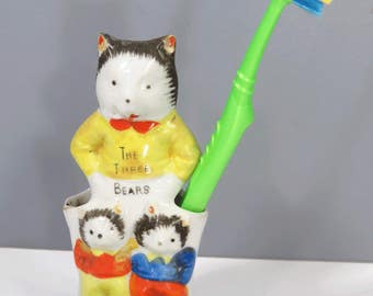 Vintage The THREE Bears Toothbrush Holder, Child Bathroom Decor, Ceramic, Vase, Pencil Holder