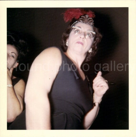 Digital Download, Woman in Black with Red Feather Hat, Celebrating New Years Eve, 1970's Photo, Found photo, Printable, Candid Photo