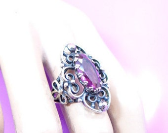 Renaissance Style Filagree Sterling Silver Ring with Purple Glass