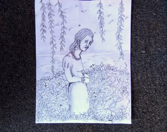 In the Vines Original Pencil and Ink Drawing Illustration Artist Trading Card 11 x 8.5