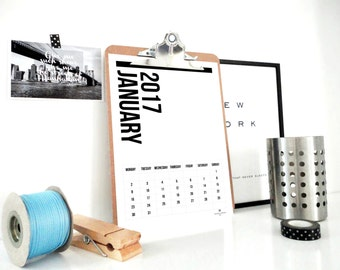 2017 Printable Calendar, All Vertical Calendar, Monthly Calendar, 2017 Planner, Wall Calendar, Home Office Organization, Desk Calendar, PDF
