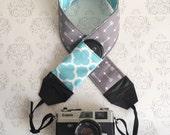 DSLR Camera Strap, Padded with Lens Cap Pocket, Nikon, Canon, DSLR Photography, Photographer Gift, Wedding - Gray Arrow and Aqua Quatrefoil