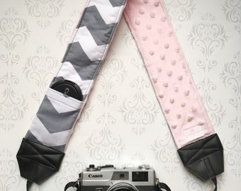 DSLR Minky Camera Strap, Padded with Lens Cap Pocket, Nikon, Canon, DSLR Photography, Photographer Gift, Wedding - Gray Chevron & Baby Pink