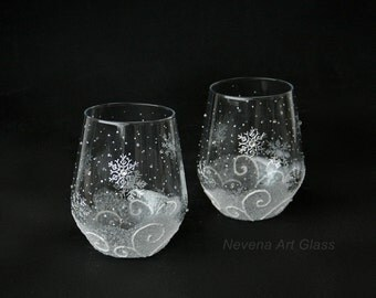 Snowflakes Stemless Wine Glasses, Winter Glasses, Christmas Glasses, Hand Painted, Set of 2