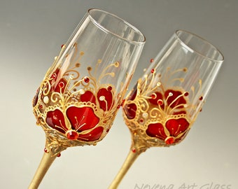 Wedding Glasses, Champagne Glasses, Wine Glasses, Red Gold Wedding, Indian Wedding, Hand painted, Set of 2