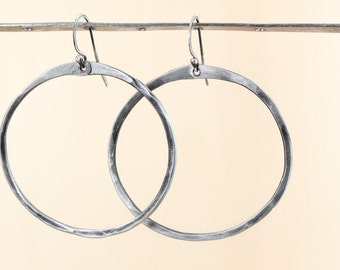 Steel hoop earrings. Medium hammered hoop earrings. Hoops hammered steel. Medium hoop earrings. Simple hoop earrings. Iron hoops Steel Hoops
