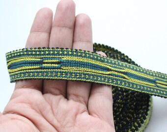 Uzbek green-yellow color woven trim Jiyak. Ethnic Boho, Hippy trim