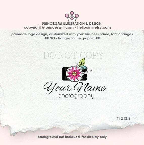 1212-2 camera logo design, photography logo, photographer logo, whimsical camera, clipart, floral and camera, watermark