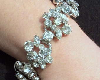 Gorgeous Juliana Clear Rhinestone Bracelet - Book Piece - Wedding Ready to Wear!