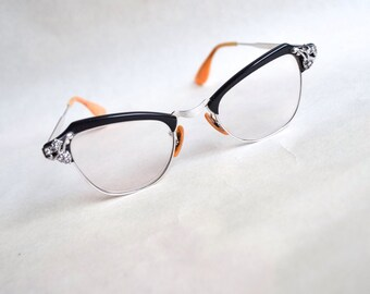 1950s 60s Black & silver rhinestone spectacles / 1960s 50s eyeglasses frames by Bausch and Lomb