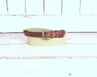 Vintage tan/light brown braided woven chord canvas leather belt/woven rope belt/38