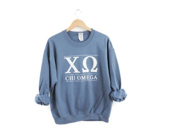 New Chi Omega Stripe Crewneck Sweatshirt // Size S-3XL // You Pick Color